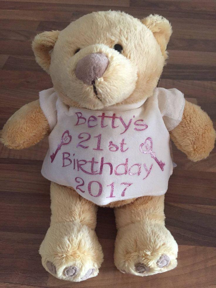 Personalised 21st teddy bear, 21st birthday gift, 18th birthday gift, birthday girl, personalised teddy bear, personalised bear, flower girl by personaliseddiamante on Etsy https://www.etsy.com/uk/listing/513368826/personalised-21st-teddy-bear-21st