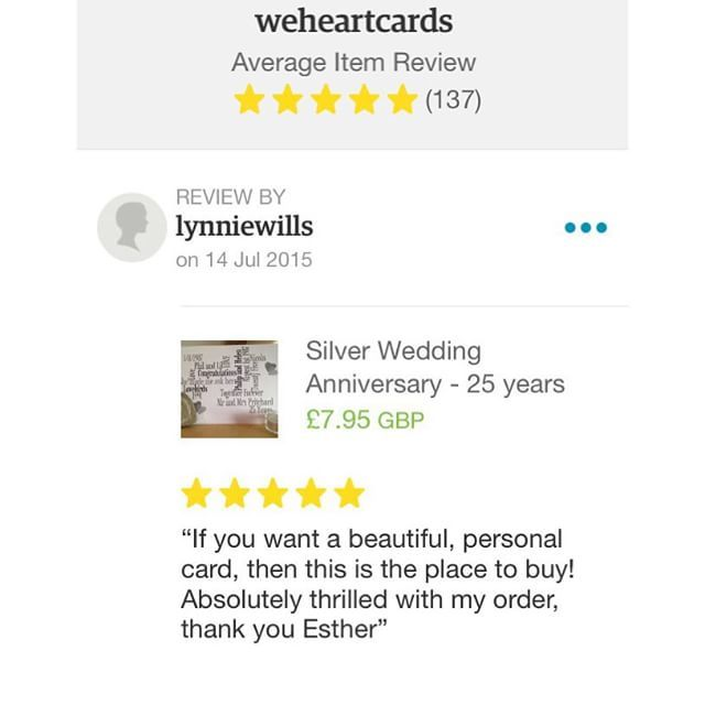 So grateful for this review today it made my week! I have nearly 140 five star reviews and I'm really thankful for my customers and I truly appreciate the time they take to post feedback.  Making cards with love and care your happiness is my happiness!  #lovinglypersonalized  http://ift.tt/1UZF5tx