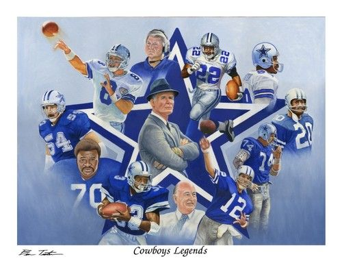 "Dallas Cowboys Legends Aikman Staubach Dorsett Landry 8""x10"" art print LE"