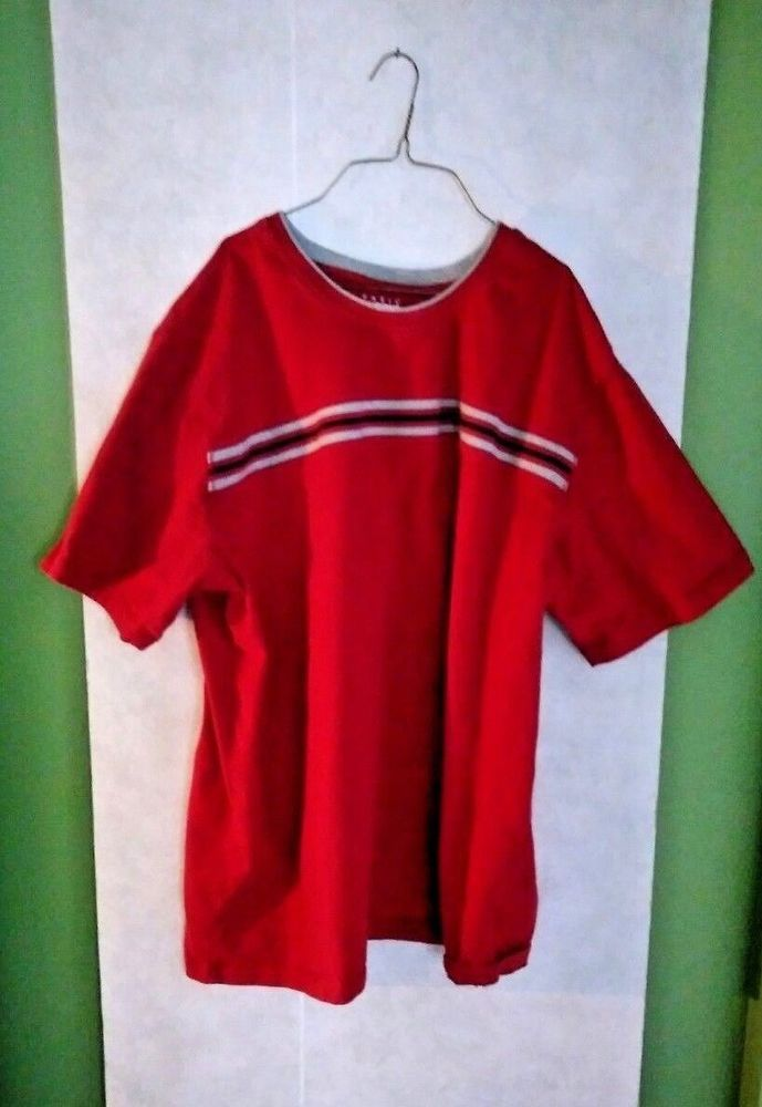 dcaa0e9d5a4b Basic Editions Mens 3X Shirt-Red with Grey stripes-Short Sleeve-pre-owned   BasicEditions  Tshirt
