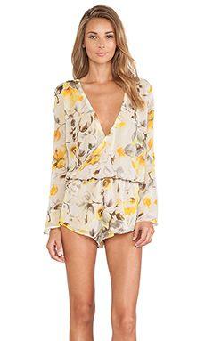 MERRITT CHARLES Kennedy Long Sleeve Romper in Yellow Floral Silk   REVOLVE