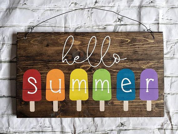 Hello Summer Patio Sign Wood Sign Home Decor Rainbow Watermelon Popsicle Wood Signs Home Decor Summer Diy Crafts