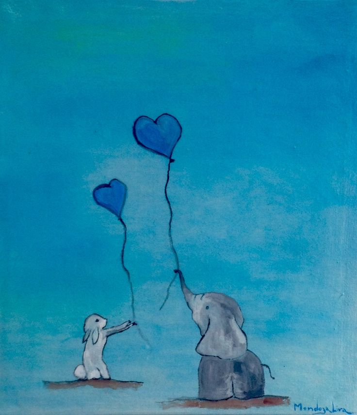 Cute Friends rabbit and elephant  Water color and ink Private collection