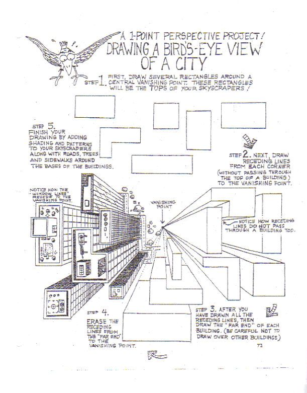 Perspective 1 worksheet bird by for Interior design lesson plans for middle school