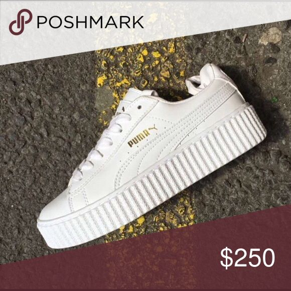 White Fenty Puma Creepers Will be available in about a week. Real pics will be posted soon. For only $200 you can purchase from my website:   shoptheshoeplug.bigcartel.com Puma Shoes Platforms