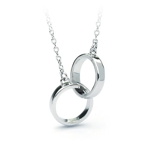Designer Inspired Interlocking Circles Pendant Rhodium Plated.