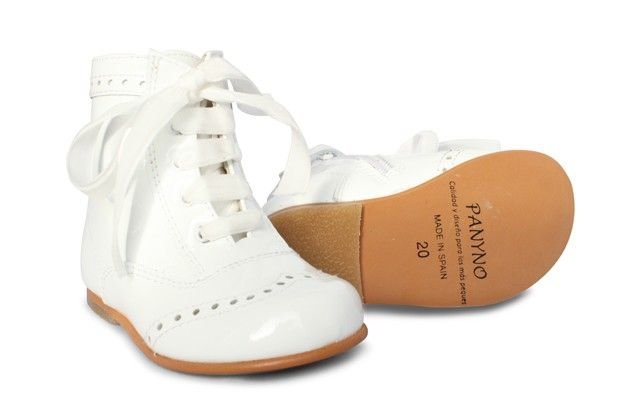 Girls White Patent High Ankle Lace Boot with Side Zip