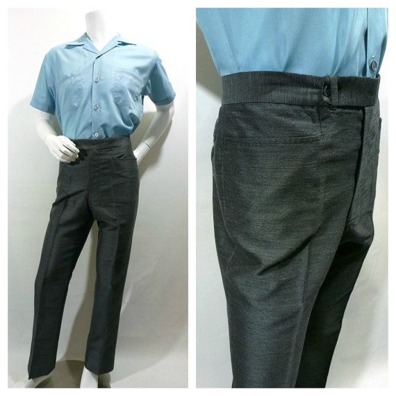 vintage 80's does 60's -Monte- Men's patterned sharkskin pants. Orange / Black. Pleat Front - Skinny leg. 28
