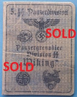 5TH SS PANZER DIVISION WIKING WAFFEN SS SOLDBUCH ID CARD WEHRPASS PRICE $125