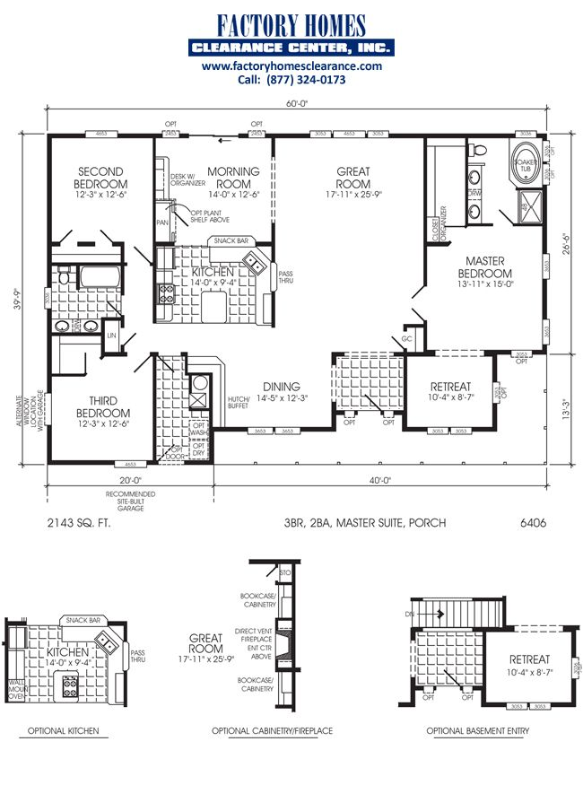 6 bedroom triple wide floor plans web for Modular homes with basement