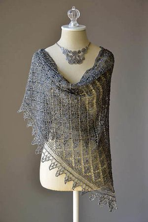 Designed by Brenda York, Waterhouse is a light and lacy scarf knitting pattern. Featuring a floral, lace ogee stitch pattern, this project is knit using lightweight Berroco Andean Mist yarn.