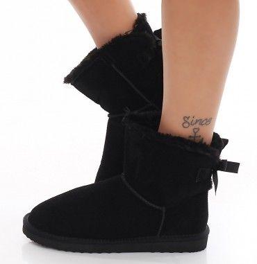 SKUTARI Luxuriöse Damen Bow Fell Winter Wildleder Stiefel Boots warm gefüttert Schlupfstiefel mit Schleife