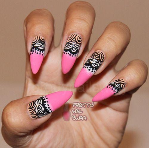 Urban Stiletto Nail Art: Almond/stiletto Shape Nails