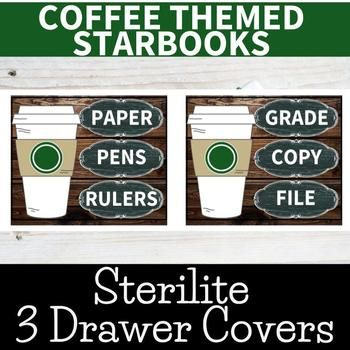 Starbooks Espresso Themed Sterilite three Drawer Labels Chalkboard