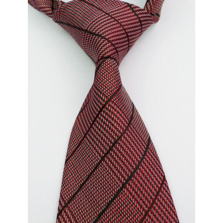 Галстук красно-черный в полоску с оттенком коричневого - купить в Киеве и Украине по недорогой цене, интернет-магазин
