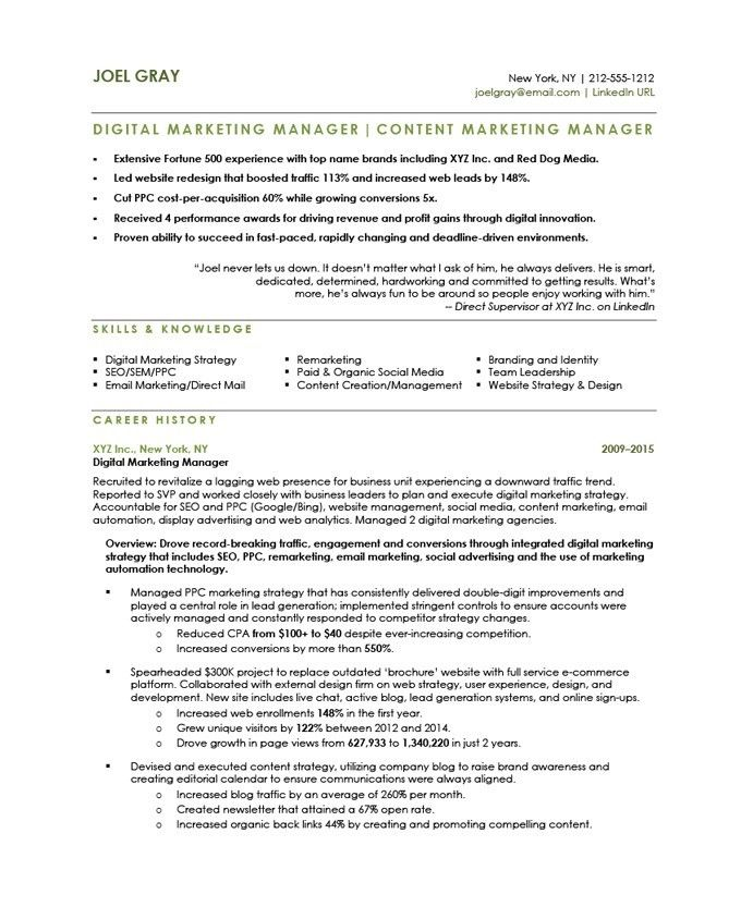And yet, you're still struggling to get hired as a … 77 Beautiful Gallery Of Resume Career Summary Examples Marketing Digital Marketing Manager Marketing Resume Manager Resume