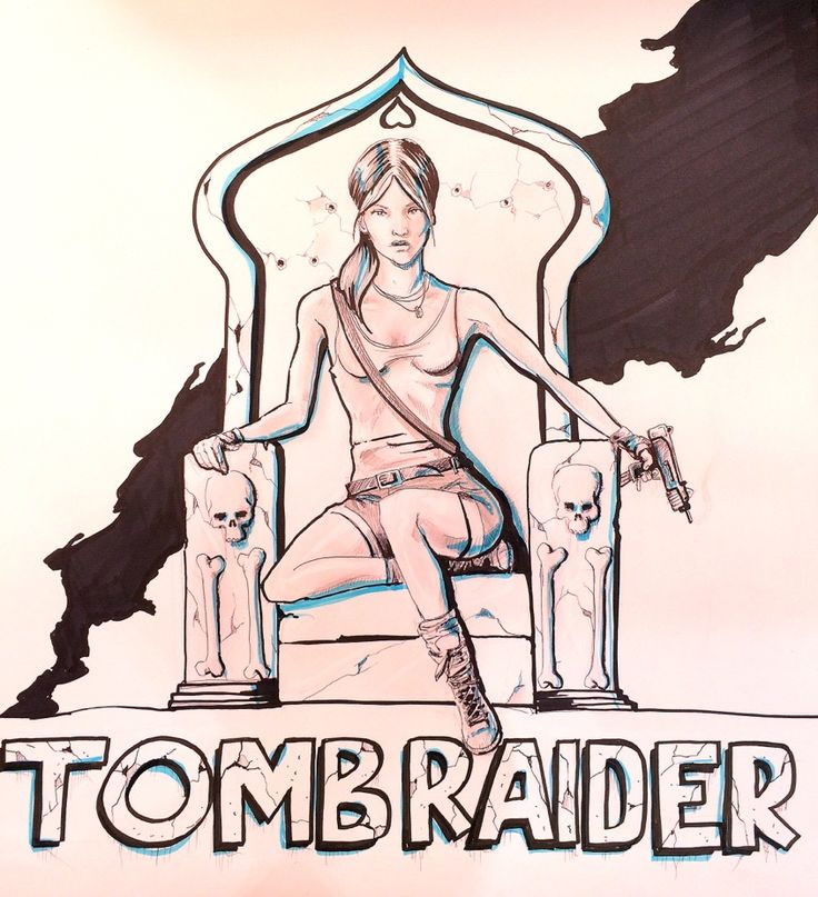 Tomb Raider art I did for work. Marker, pencil, and blue hi-lighter on card. Follow me for more cool artwork!