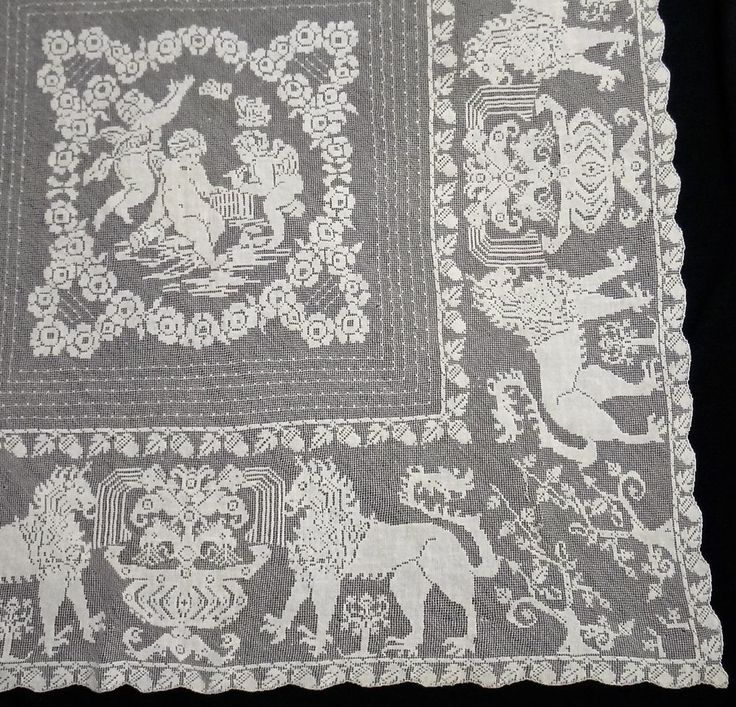 Antique Italian Figural Filet Lace Tablecloth Topper 45 X 45 Delicate Hand  Done | Linens