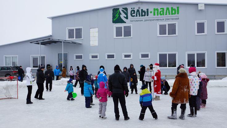 """9 января в питомнике """"Ёлы-палы"""" прошёл праздник для детей сотрудников. Хорошая погода, каток, горка, катание на лошадях, ёлка, дружный хоровод, игры, угощения и, конечно же, подарки от Деда Мороза и Снегурочки стали составляющими отличного настроения и весёлого праздника!"""