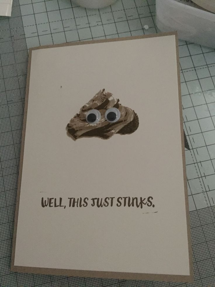 A funny poo emoji card using Stampin' Up! Sweet cupcake and here for you stamp sets.