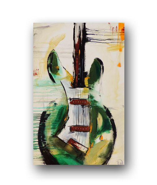 Guitar Painting Green Abstract Painting by heatherdaypaintings,