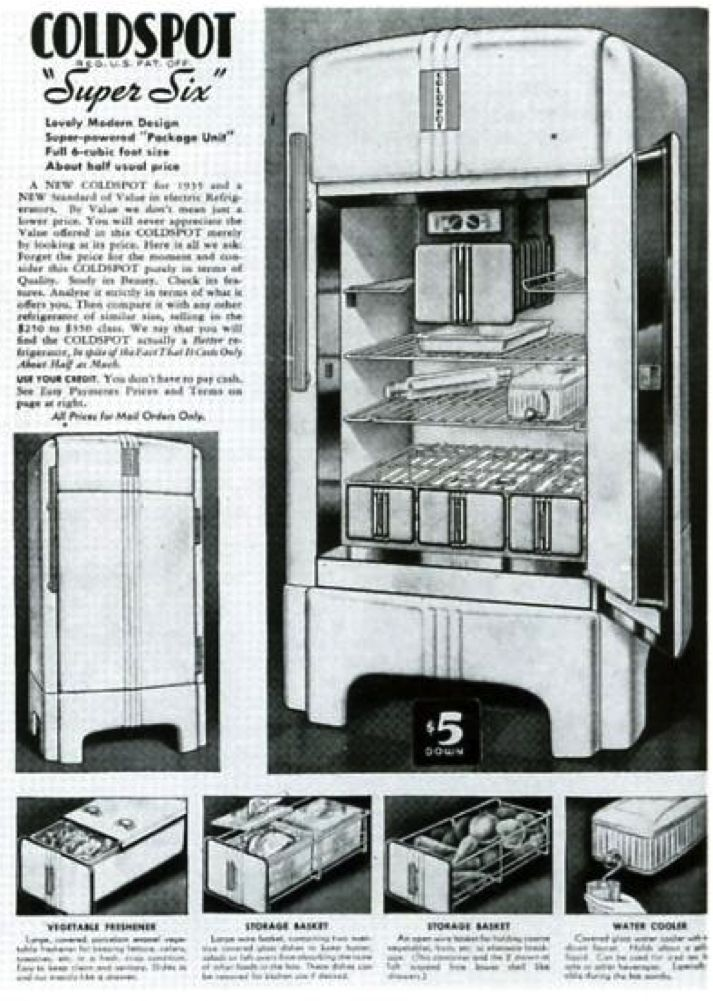 en 1934 39 sears roebuck company 39 commande raymond loewy le design du r frig rateur 39 coldspot. Black Bedroom Furniture Sets. Home Design Ideas