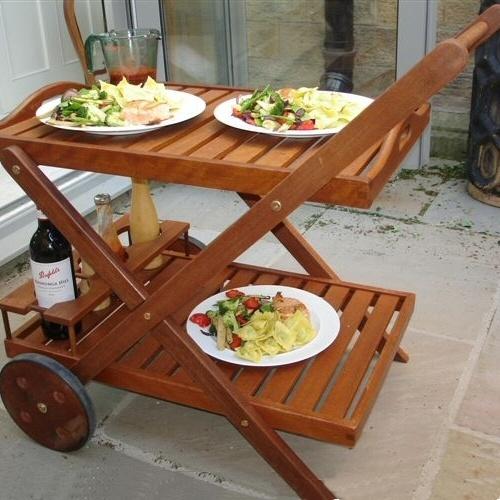 Hardwood  Garden Food / Drinks Trolley