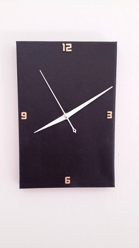 Black wall clock, Handmade wall clock, Home Decor, Minimalist Black Clock, Modern Wall Clocks, Elegant canvas Clock, Decor and Housewares