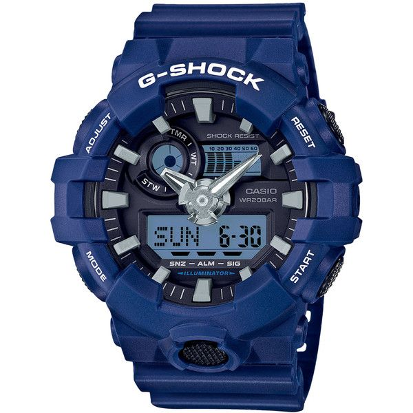 Casio G-Shock Analog-Digital Blue Watch (1,780 MXN) ❤ liked on Polyvore featuring jewelry, watches, resin, g shock watches, dial watches, ana-digi watches, world time watches and g shock wrist watch