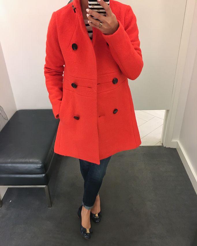 banded statement coat, red coat, petite winter coats