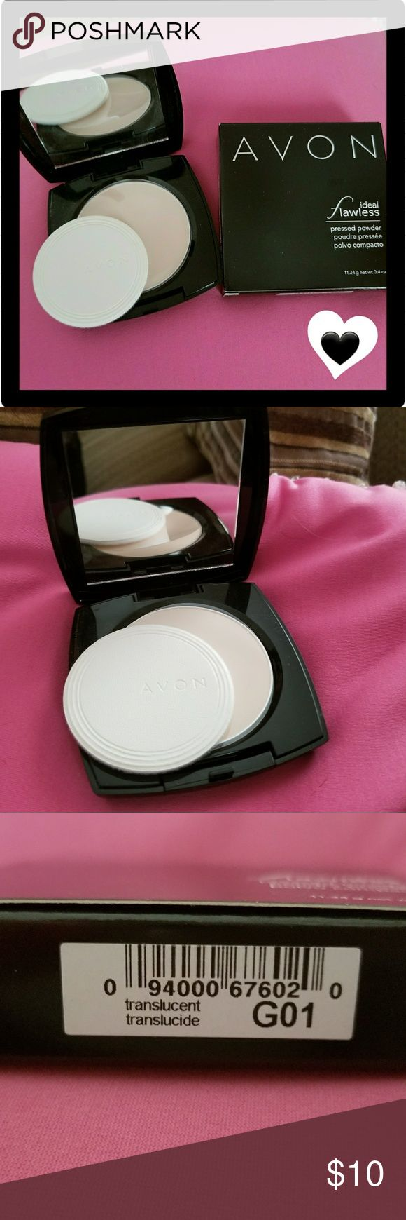 Avon Ideal Flawless Pressed Powder - Translucent💖 Avon Ideal Flawless Pressed Powder in Translucent is silky smooth & very light. Your skin will look flawless from every angle as it eliminates shine & covers imperfections. It provides a sheer to medium coverage for a natural finish😍💗💋 Avon Makeup Face Powder