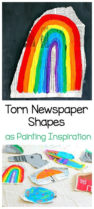 Easy Art Project for Kids: Use torn newspaper shapes as painting inspiration! (inspired by the popular children's book, Beautiful Oops!) ~ BuggyandBuddy.com