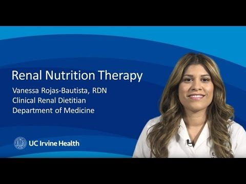 Renal nutrition therapy for kidney disease - In the United States, one in three adults is at risk for developing kidney disease. Risk factors include diabetes, hypertension or high blood pressure, family history of kidney disease, heart disease and recurrent urinary tract infections.   UC Irvine Health Nephrology Services http://www.ucirvinehealth.org/medical...