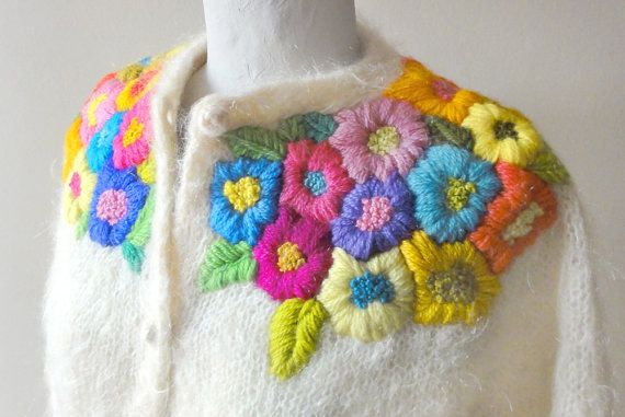vintage mohair embroidered cardy. CUTE.