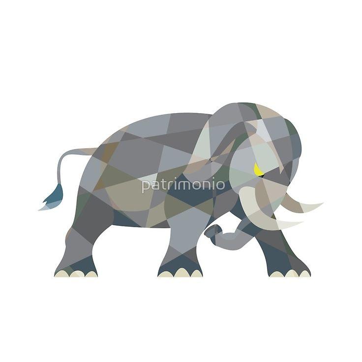 Elephant Attacking Side Low Polygon by patrimonio