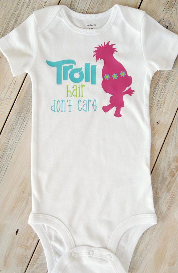 Baby Bodysuit Trolls Onesie Troll Hair Don/'t Care Baby Onesie Infant Onesie