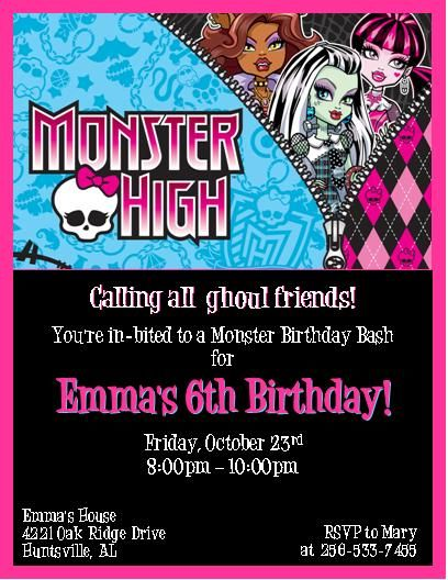 340 best monster high party images on pinterest | monster high, Einladungsentwurf