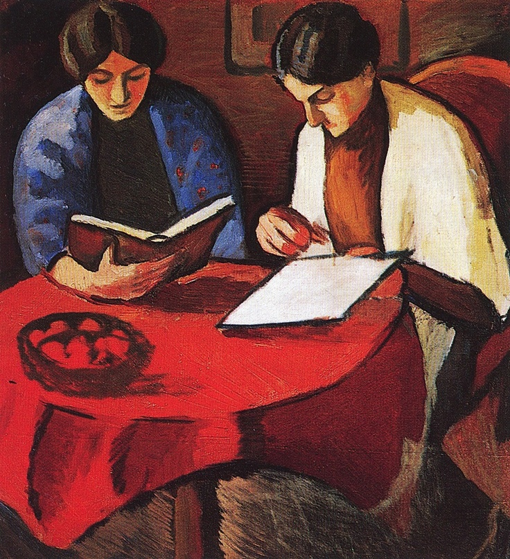 """Zwei Frauen am Tisch (Two Women at the Table)"" / August Macke (1887-1914)"