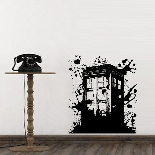 Wall Decal Doctor Who Tardis Mural Sticker Decor Art Police Box Gift Dorm  Bedroom M1623 DecorWallDecals Part 21