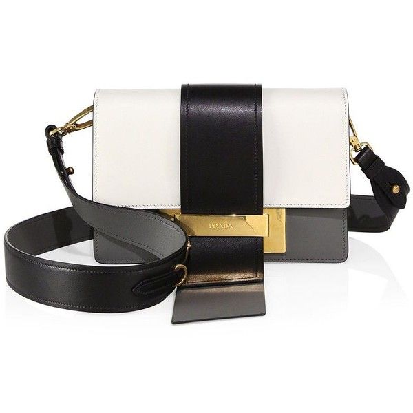 Prada City Tri-Tone Leather Crossbody Bag (€2.050) ❤ liked on Polyvore featuring bags, handbags, shoulder bags, apparel & accessories, bianco, prada shoulder bag, prada handbags, real leather purses, cross-body handbag and leather cross body purse