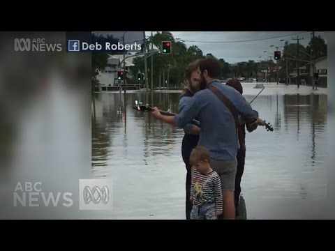 Folk band the Button Collective play impromptu gig for flooded Lismore r...