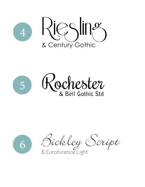 9 beautiful font combinations perfect for weddings or showers.