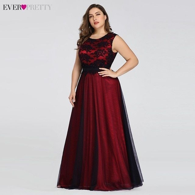 Women Summer Plus Size Sleeveless Lace Long Evening Party Prom Gown Formal Dress