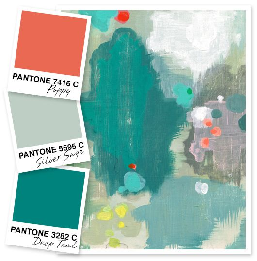 KAH says: here's that mod mid-C set again: Poppy, Silver Sage, and Deep Teal Color Palette