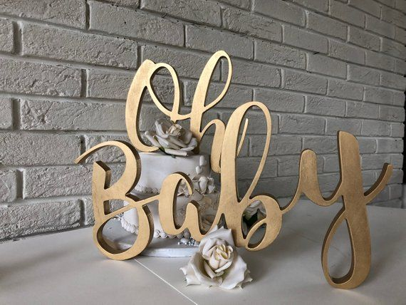 Wooden Letters Oh Baby Large Wood Sign Baby Shower Backdrop Or