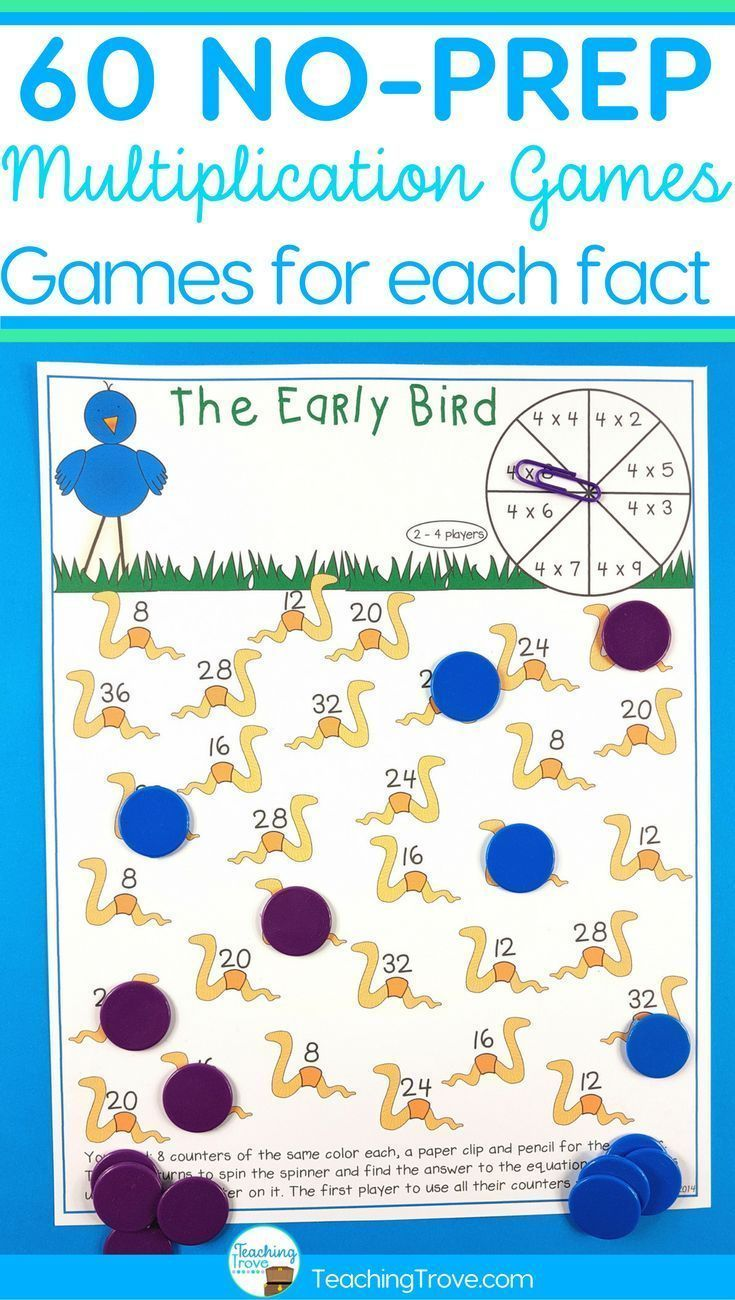 Multiplication from 1 to 12 times can be consolidated with this set of multiplication games.