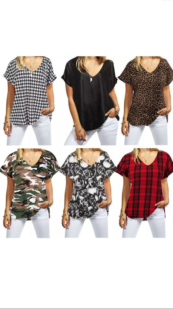 5081b7b816c Ladies short sleeve V neck Baggy Top Women Loose Baggy T-Shirt Plus size
