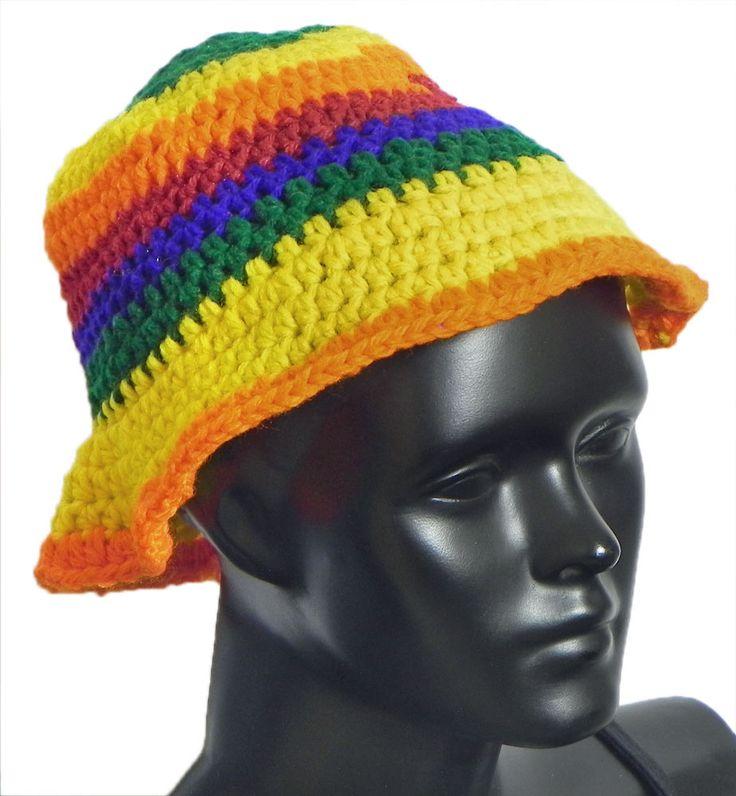 Hand Crocheted Multicolor Stripe Ladies Woolen Hat (Woolen)