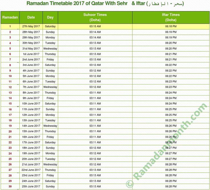 Ramadan Calendar 2017 Qatar