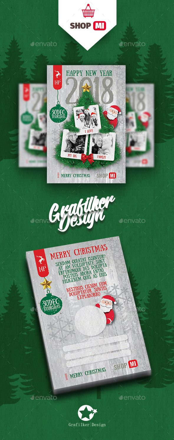 Christmas Postcard Templates PSD, InDesign INDD